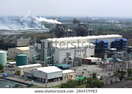 CHACHOENGSAO-THAILAND-FEBRUARY 28 : Top view of Bang Pakong Power plant on February 28, 2015,Chachoengsao Province, Thailand.