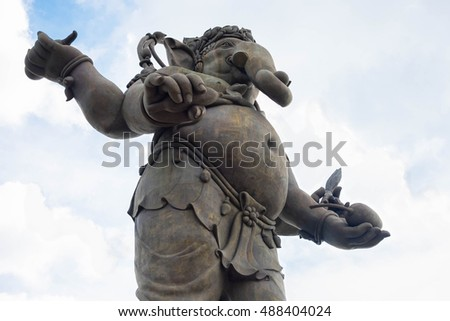 CHACHOENGSAO, THAILAND - JULY 23: Bottom view of large statue of Lord Ganesha, a Hindu deity on July 23, 2016 in Chachoengsao, Thailand.