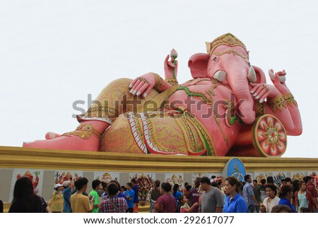Chachoengsao, Thailand - May 4, 2015: Hugh Pink Genesha, the elephant-deity riding a mouse, one of the commonest mnemonics for anything associated with Hinduism, located at Wat Samanrattanaram Temple.