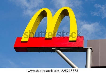 CHACHOENGSAO, THAILAND - OCTOBER 19, 2014: McDonalds outdoor sign over the Shop.Mc Donalds is the worlds biggest fast food chain. - stock photo