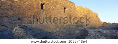 Chaco Canyon Indian Ruins, Sunset, New Mexico - stock photo