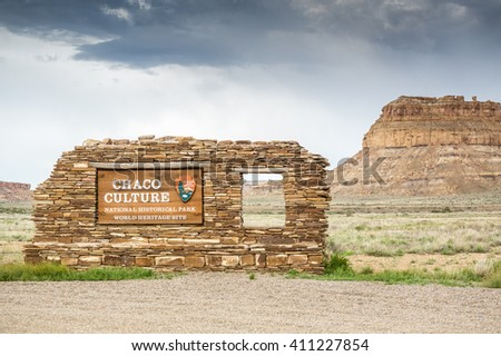 Chaco Culture National Historical Park. World Heritage Site. - stock photo