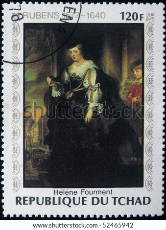 CHAD - CIRCA 1978: A post stamp printed in Republic of Chad shows draw by Peter Paul Rubens - Helene Fourment, circa 1978 - stock photo