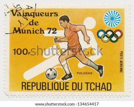 CHAD - CIRCA 1972: A stamp printed in Chad, shows Olympic Games in Munich, football, series, circa 1972