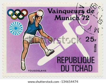CHAD - CIRCA 1972: A stamp printed in Chad, shows Olympic Games in Munich, handball, series, circa 1972
