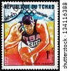 CHAD - CIRCA 1969: a stamp printed in Chad shows Randy Matson, Shot Put, Athletics, Winner of 1968 Olympic Games, Mexico, circa 1969 - stock photo