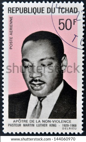 CHAD - CIRCA 1969: A stamp printed in cuba shows Martin Luther King, circa 1969 - stock photo