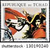 CHAD - CIRCA 1970: Stamp printed in Chad shows Napoleon (painting by L. David), detail, circa 1970 - stock photo