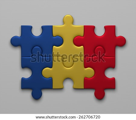 Chad flag assembled of puzzle pieces on gray background - stock photo