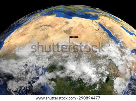 Chad flag on pole on earth globe illustration - Elements of this image furnished by NASA