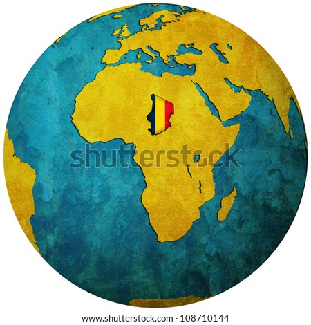 chad territory with flag on map of globe