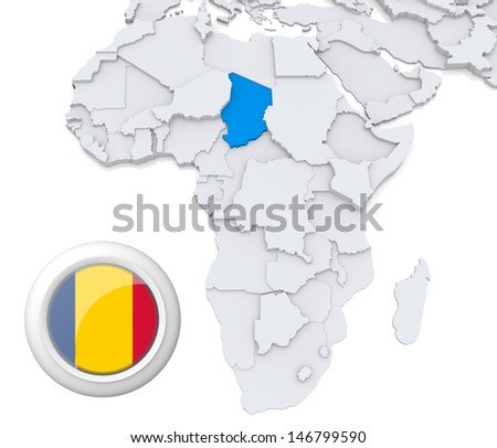 Chad with national flag - stock photo