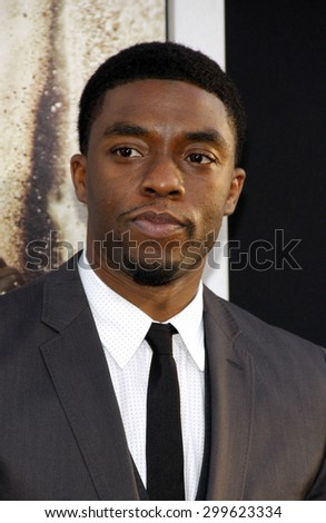 "Chadwick Boseman at the Los Angeles premiere of ""42"" held at the TCL Chinese Theatre in Hollywood, California, United States on April 9, 2013."