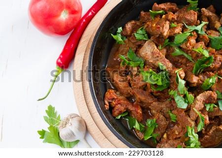 Chahohbili - traditional georgian beef stew, top view - stock photo