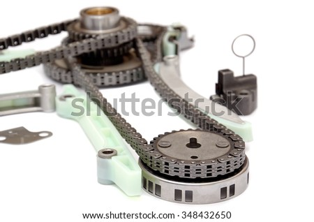 chain and camshaft, crancshaft gears,timing set engine, isolated - stock photo