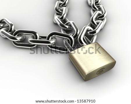 Chain and padlock on white background - 3d render