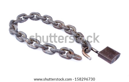 chain and unlocked padlock on white background