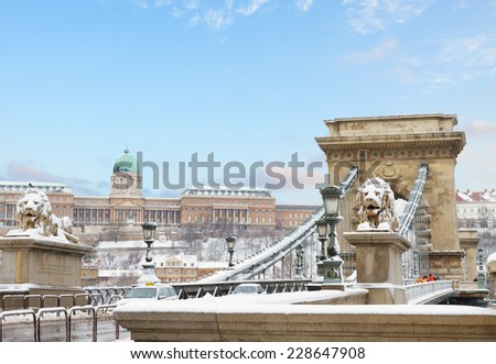 Chain Bridge and  Royal Palace  in Budapest at winter day Hungary - stock photo