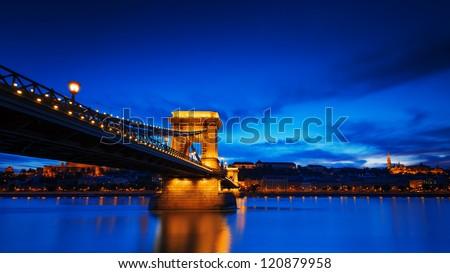 Chain Bridge and the Danube river at dusk. - stock photo
