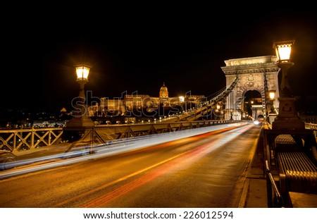 Chain Bridge at night, Budapest - stock photo