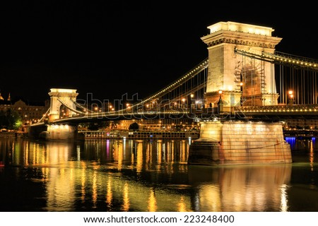 Chain Bridge, Budapest. Night view - stock photo