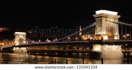 Chain Bridge by night in Budapest, Hungary - stock photo