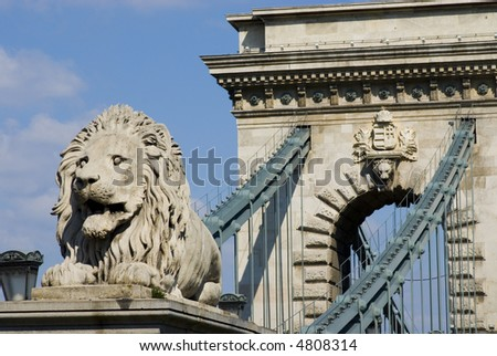 chain bridge in budapest - stock photo