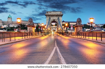 Chain Bridge in Budapest in evening. - stock photo
