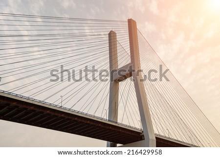 Chain bridge in shanghai,china - stock photo