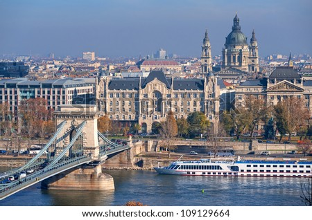 Chain Bridge over Danube, Gresham Hotel and St Stephen's Basilica in Budapest, Hungary