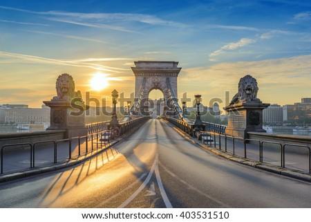 Chain Bridge when sunrise, Budapest, Hungary - stock photo