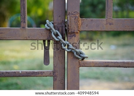 Chain door lock - stock photo