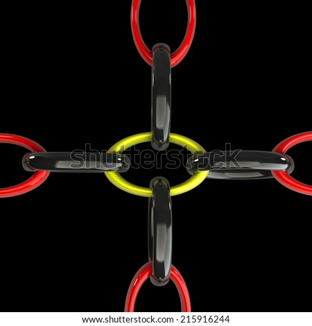 chain. isolated on black background. 3d illustration - stock photo