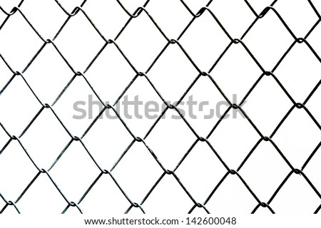 chain link fence on white background
