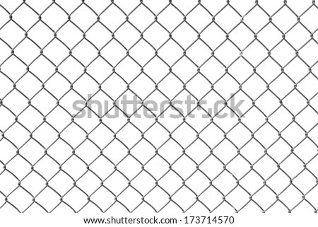 Chain Link Fence with White Background - stock photo