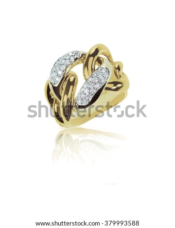 Chain link gold diamond wedding band, fashion cocktail ring