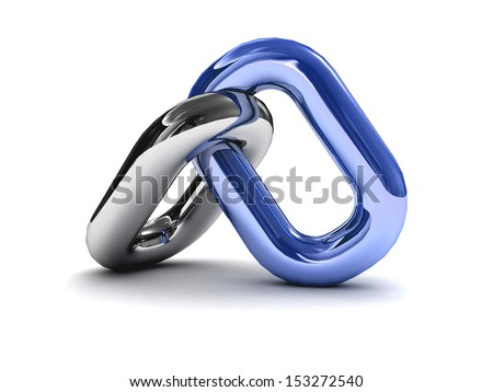 Chain link isolated on white background. Concept 3D illustration. - stock photo