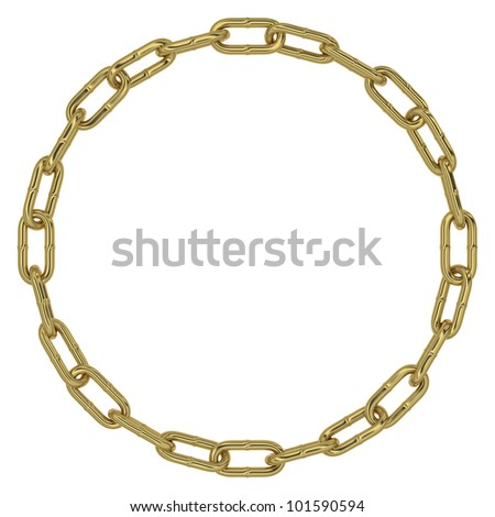 Chain links making a circular gold figure on white background - stock photo