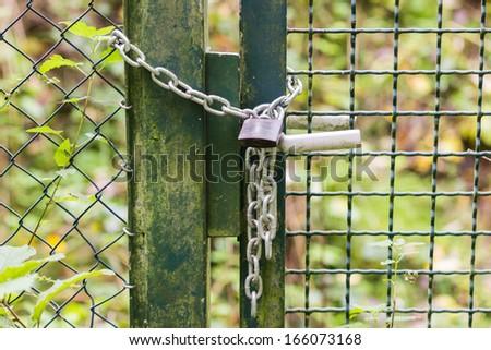 Chain Lock Door Outside - stock photo