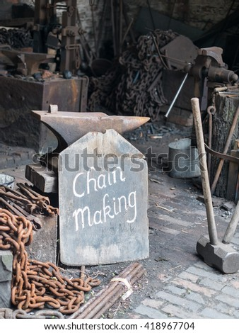 Chain making at the Black Country Living Museum - stock photo