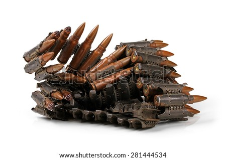 chain of ammunition isolated on white background - stock photo