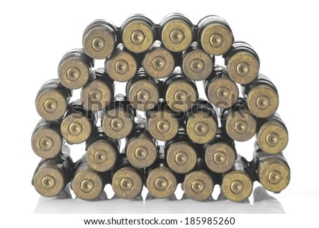 Chain of cartridges, used on white background. - stock photo