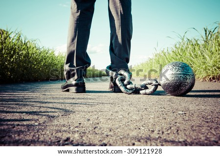 chain of iron ball attached to the foot - stock photo