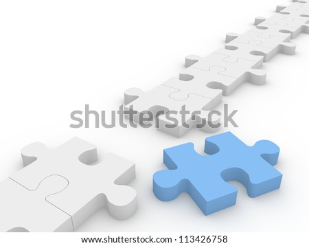 Chain of puzzle pieces with a blue piece out of the row. - stock photo