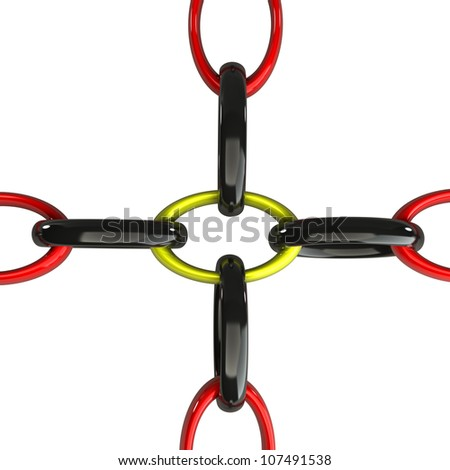 Chain red, yellow,  black 3d - stock photo