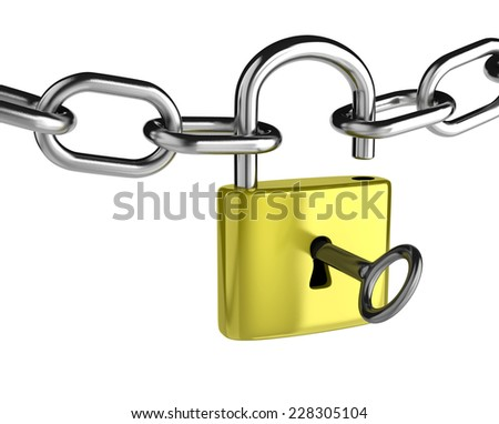 Chain with a Key that is Opening a Padlock on White Background - stock photo