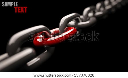 Chain with a red link  isolated on black background High resolution 3d render - stock photo