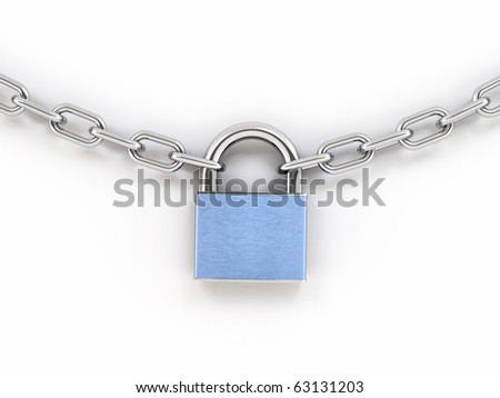 Chain with lock. 3d