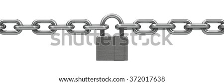 Chain with lock - security concept, three-dimensional rendering - stock photo