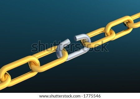Chain with one link breaking